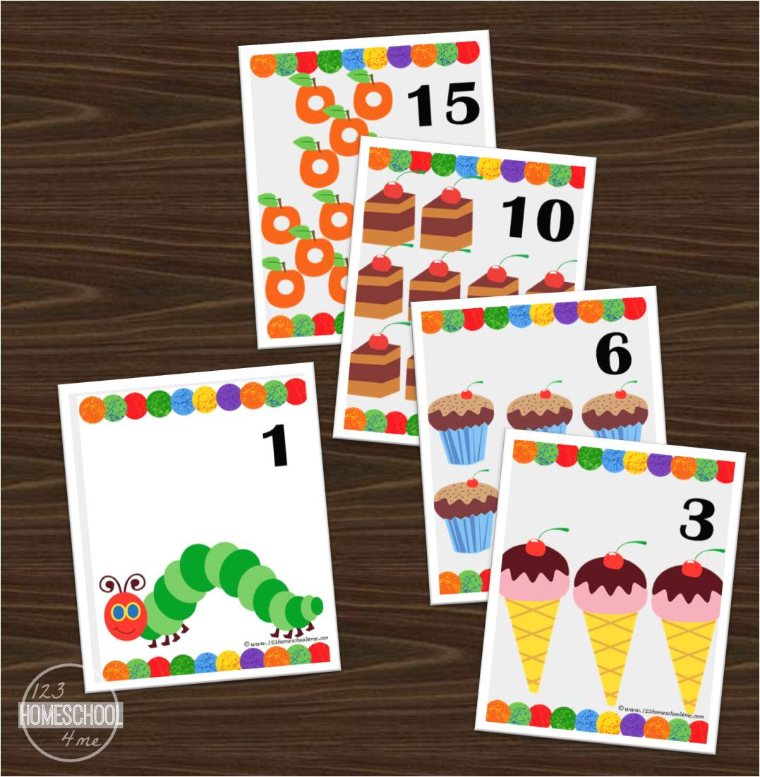 Hungry Caterpillar Number Flashcards