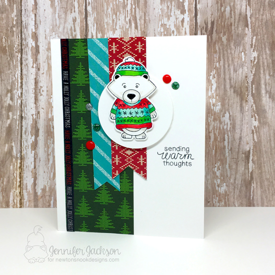 Winter Bear in Sweater Card by Jennifer Jackson | Inky Paws Challenge 38 | Sweater Weather Stamp Set by Newton's Nook Designs #newtonsnook