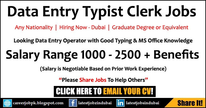Data Entry Typist Clerk Jobs in Dubai