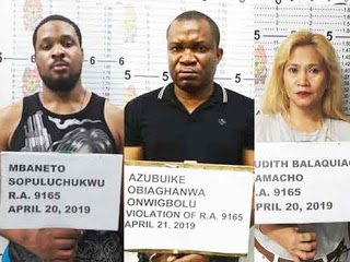 Two Nigerians arrested in Philippines for smuggling N125m worth of drugs
