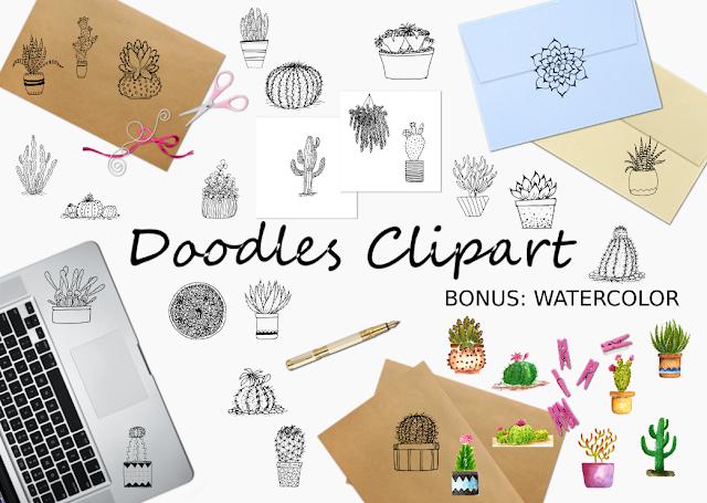 Doodle Cactus Clipart Collection