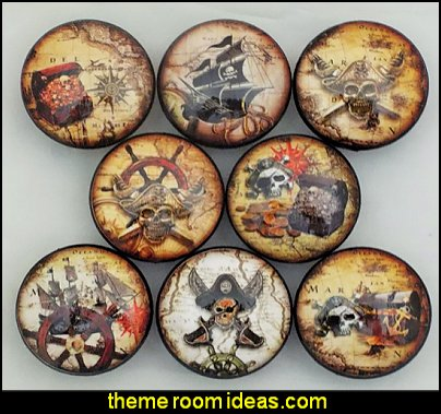 Pirate Cabinet Knobs   pirate bedrooms - pirate themed furniture - nautical theme decorating ideas - pirate theme bedroom decor - Peter Pan - Jake and the Never Land Pirates - pirate ship beds - boat beds - pirate bedroom decorating ideas - pirate costumes