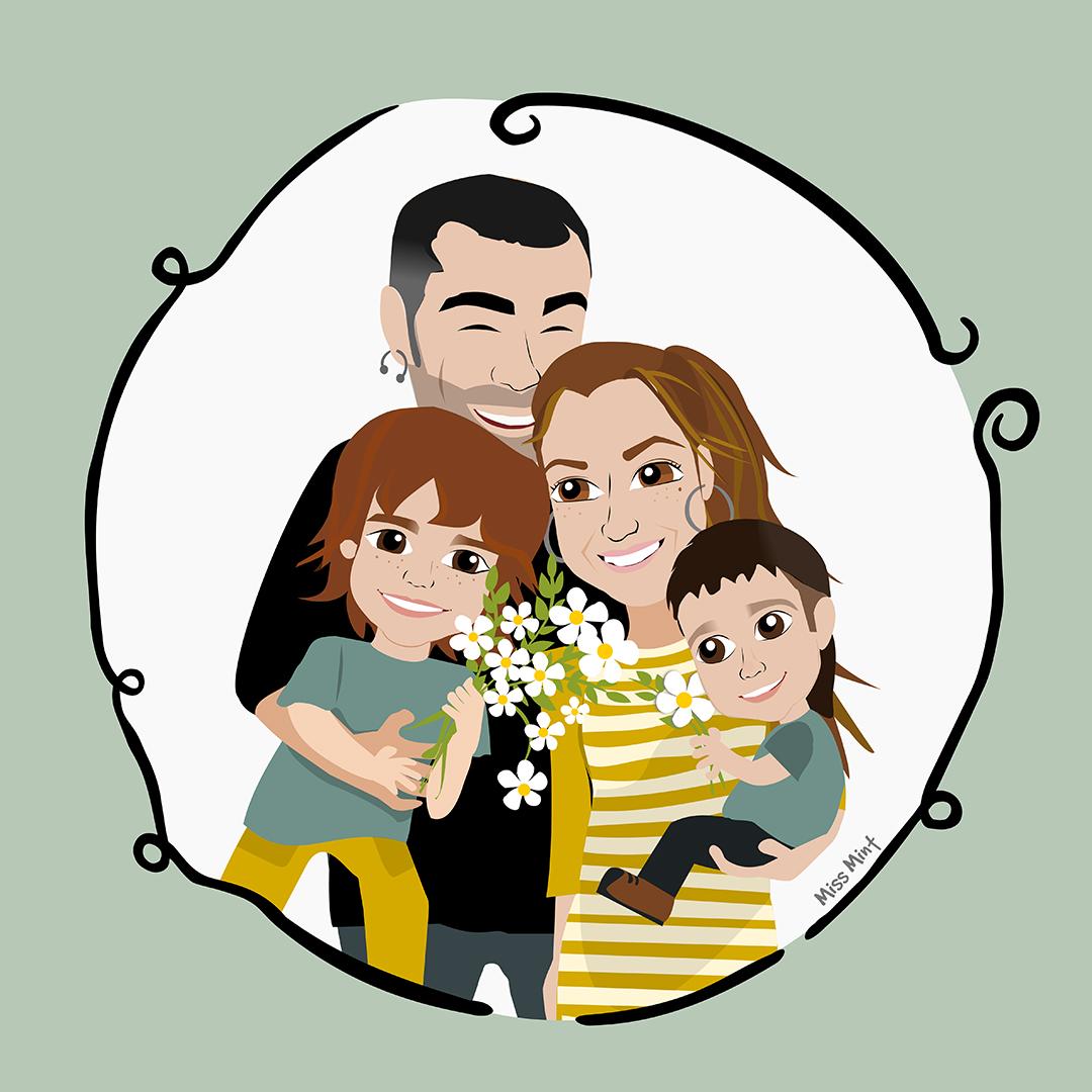 regalos originales y personalizados para bodas, retrato familia miss mint