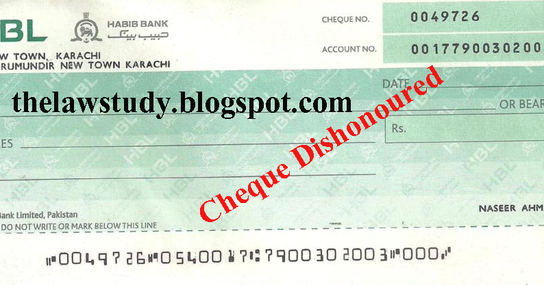 Dishonor of a Cheque - The Law Study