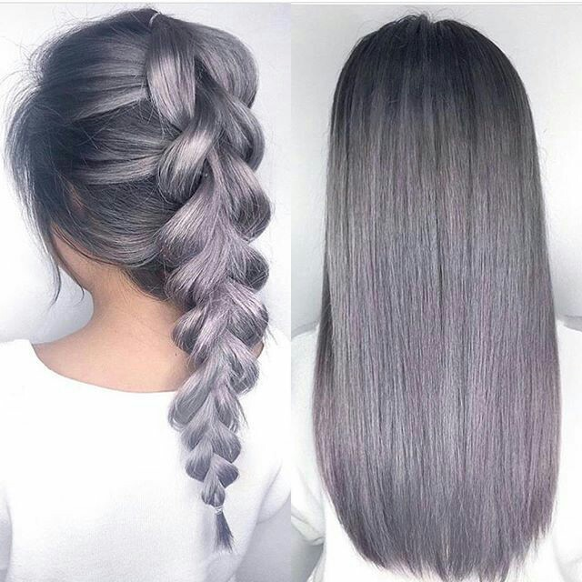 Grey hair colour fish tail
