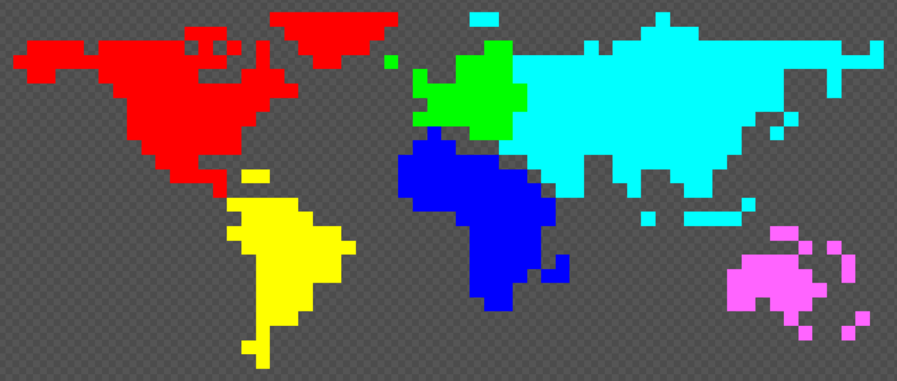 The creation of the world map news pixel creature arena indie db this is the sprite used to generate the map every color represents a continent and with this i could create this gumiabroncs Gallery