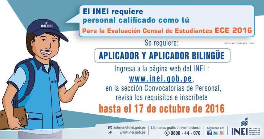 Inei convocatoria de personal aplicador y aplicador for Convocatoria para docentes 2016