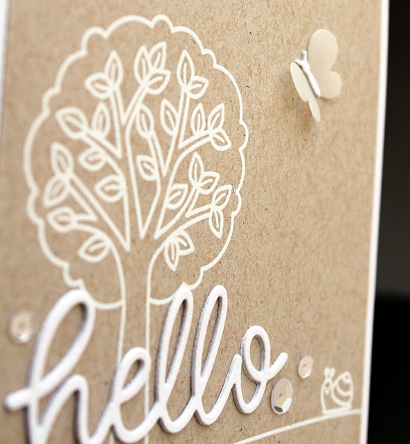 Sunny Studio Stamps: Hello Word Die Summer Picnic Simple Kraft and White Hello Card by Vanessa Menhorn
