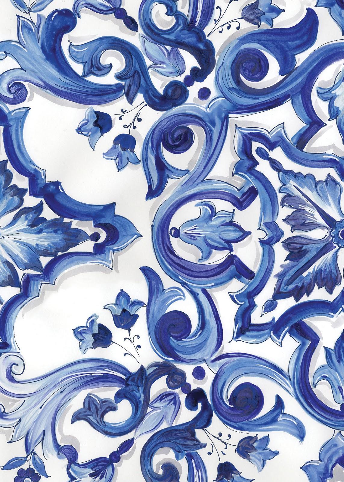 Este é o padrão de inspiração para todas as peças (azul e branco, lindo!)  ) d8e9af18c4