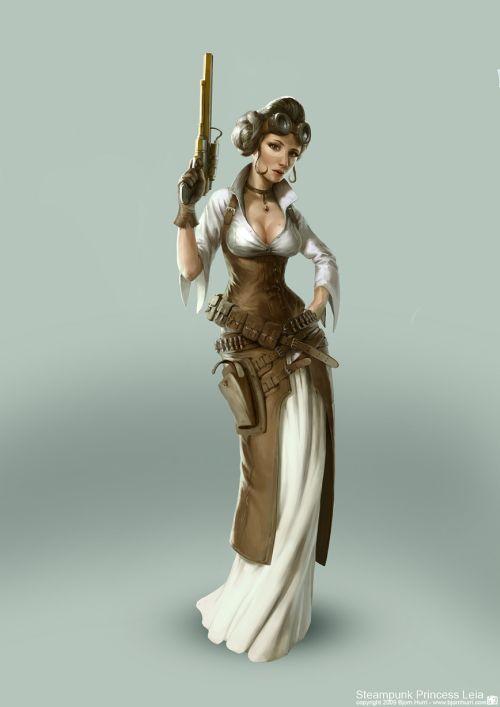 Bjorn Hurri ilustrações fantasia Star Wars steampunk Princesa Leia