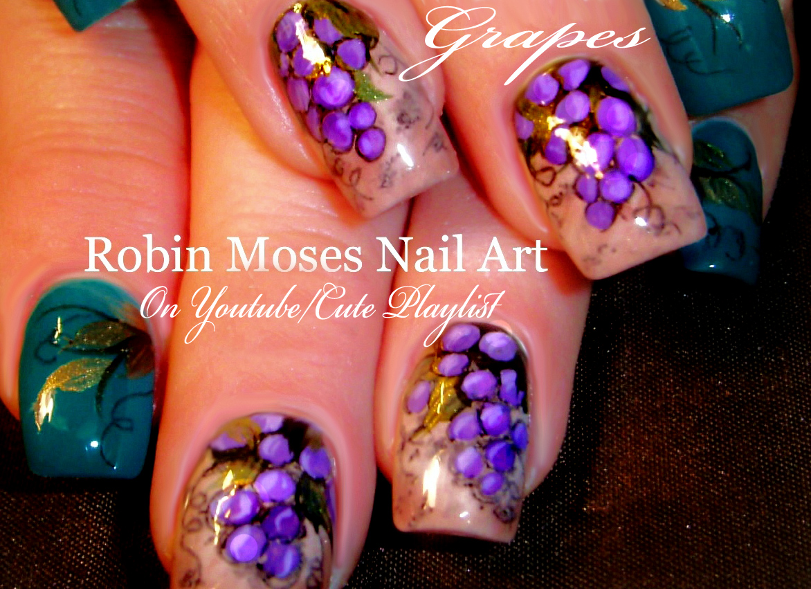 Nail Art By Robin Moses Grape Vine Vinyard Nail Art Grapevine
