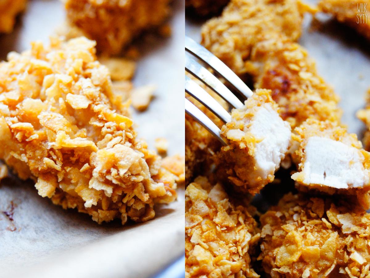 nuggetsy z kurczaka, pieczone, niskokaloryczne, fit, z masłem orzechowym, płatki kukurydziane