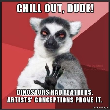 The Question Evolution Project, sometimes people use artists' conceptions as proof of evolution. The chill out lemur was fooled.