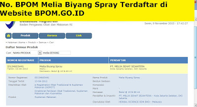 BPOM Melia biyang spray