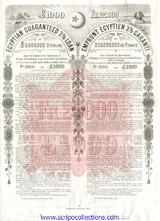 Egyptian Guaranteed 3% Loan 1887 showing sfinx and crescent moon