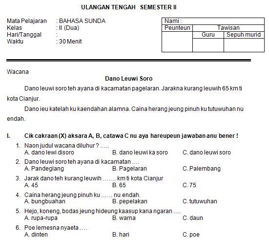 Download Contoh Soal SD/MI Kelas II Mata Pelajaran Bahasa Sunda  Semester 2 Format Microsoft Word