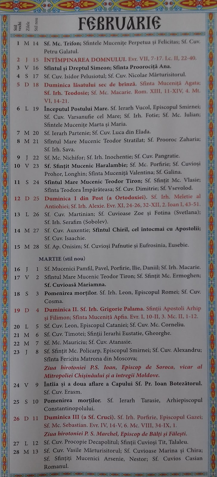 7 ianuarie 2019 calendar ortodox