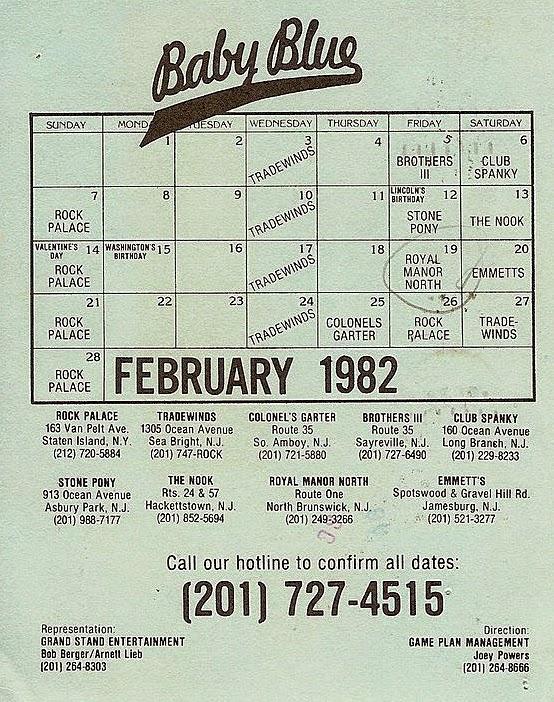 Baby Blue club calendar February 1982
