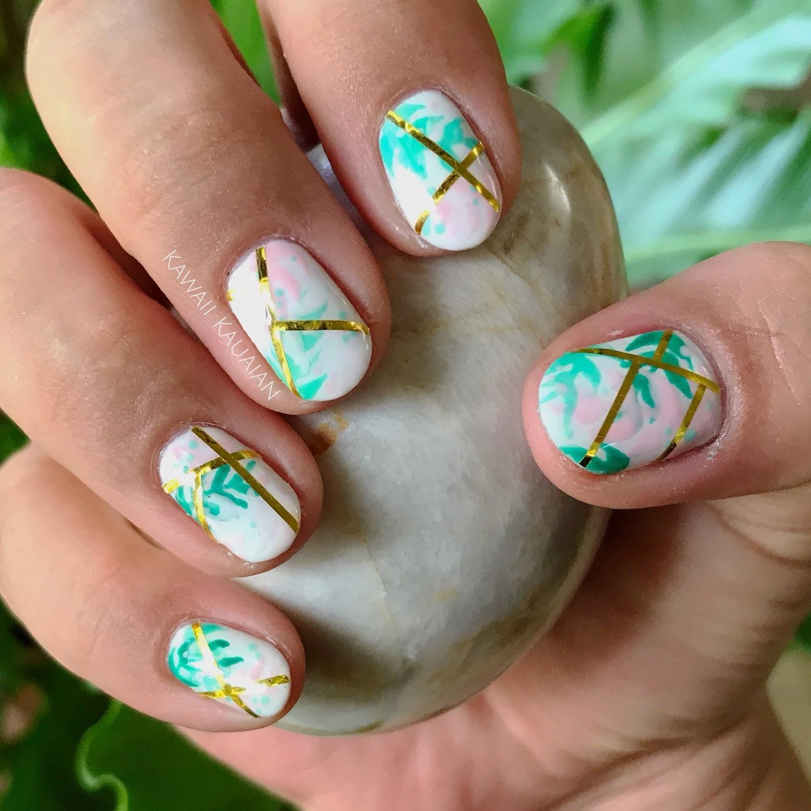 This Week\'s Nails: The Golden Girl\'s Pastel and Glitz - Kawaii Kauaian