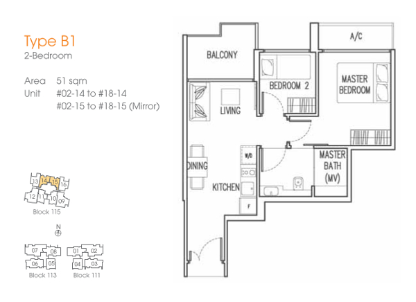 Trilive 2 Bedrooms Floor Plan
