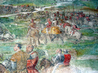 A scene from the Battle of Molinella depicted by the artist Il Romanino in frescoes at Malpaga Castle, near Bergamo