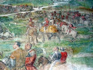 A scene from the Battle of Molinella depicted by the artist Il Romanino in frescoes at Malpaga Castle, near Bergamo
