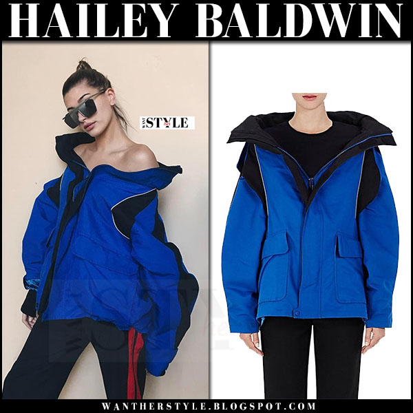 Hailey Baldwin in blue Balenciaga Parka what she wore winter style