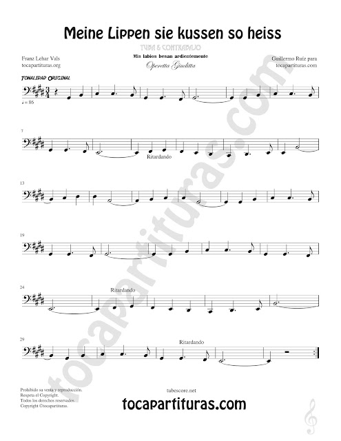 Tuba y Contrabajo (Clave de Fa en 8ª Baja) Partitura de Opera Meine Lippen sie kussen so heiss Sheet Music for Contrabass & Tuba Music Score