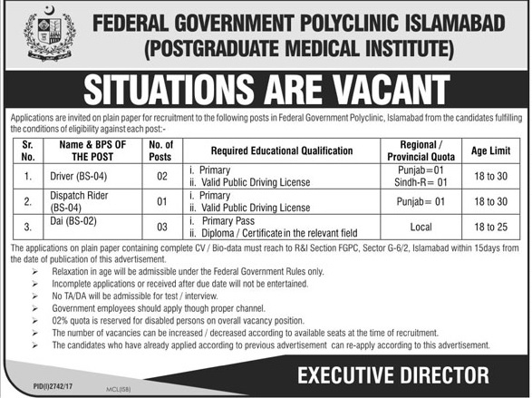 Jobs in Federal Government Polyclinic Islamabad 22 Nov 2017.