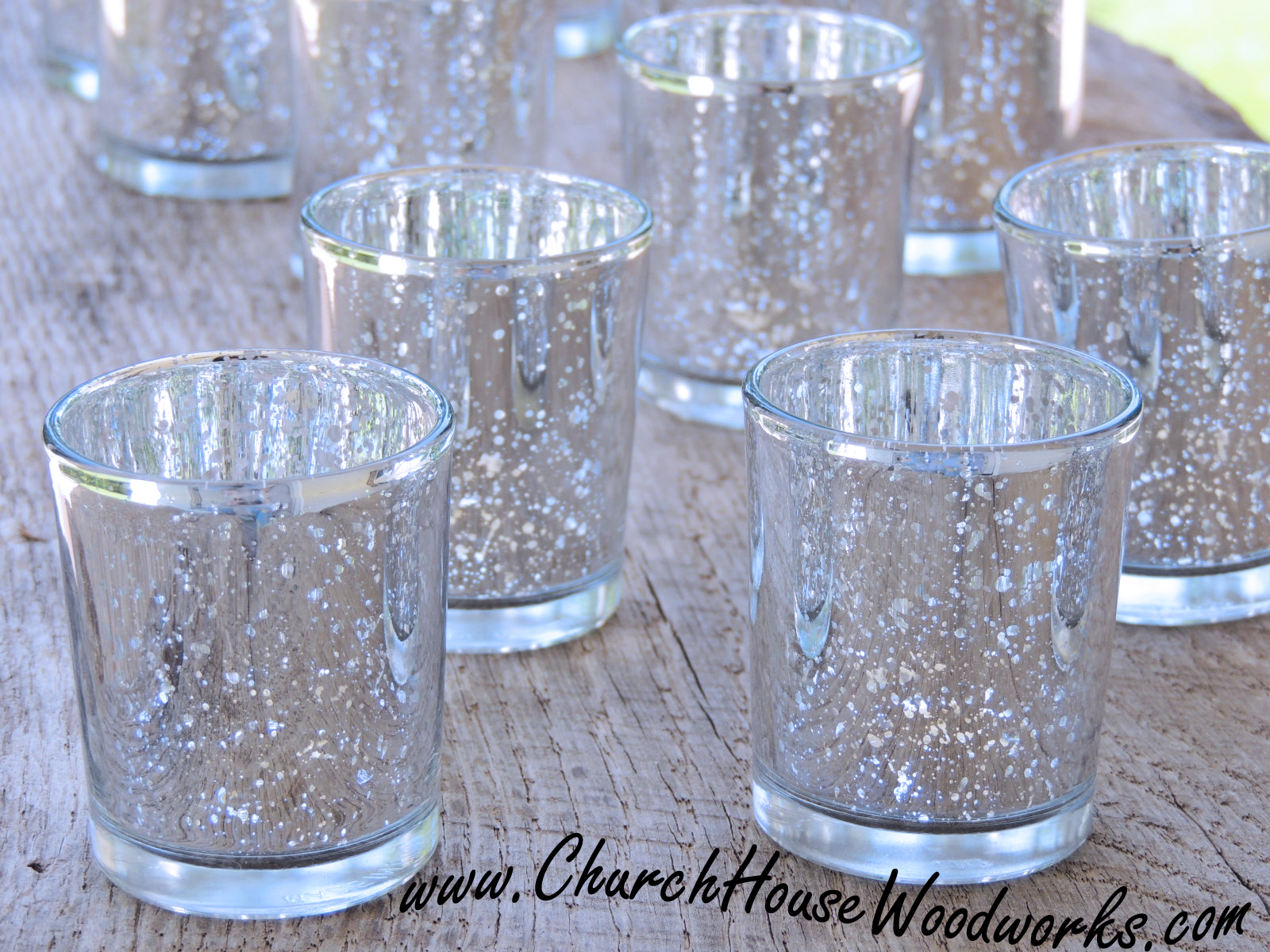 Rustic weddings gold and silver mercury glass votive