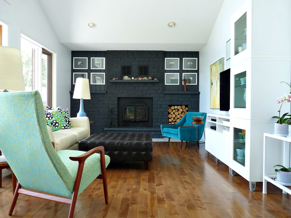 MCM Living Room with Grey Painted Fireplace + Lotte Lamps