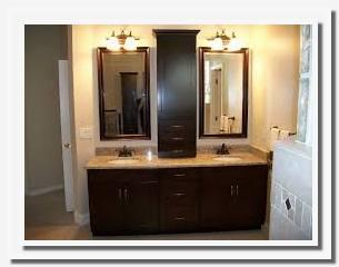bathroom vanity with center storage tower