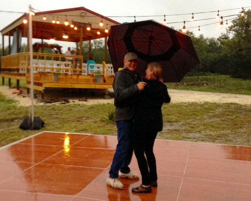 First to dance on a very wet dance floor at a 2015 wedding near Hunt, Texas