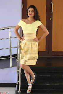 Shipra gaur in V Neck short Yellow Dress ~  030.JPG