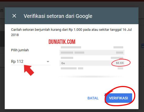 verifikasi rekening google adsense