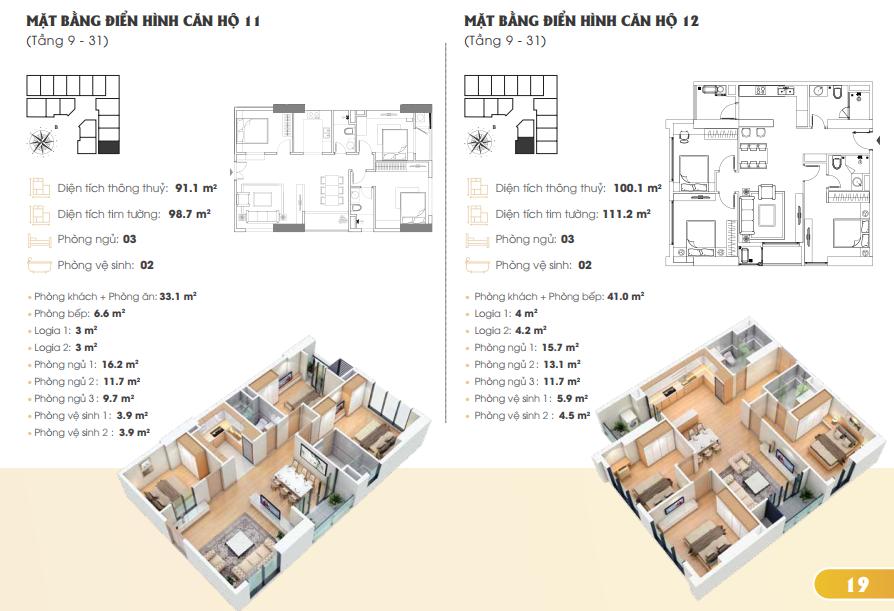 Thiết kế căn hộ 11 12 Golden Park Tower