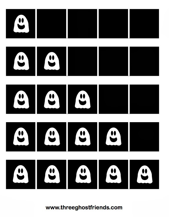 graphic relating to Five Frame Printable called 3 Ghost Close friends: Ghost 5 Frames