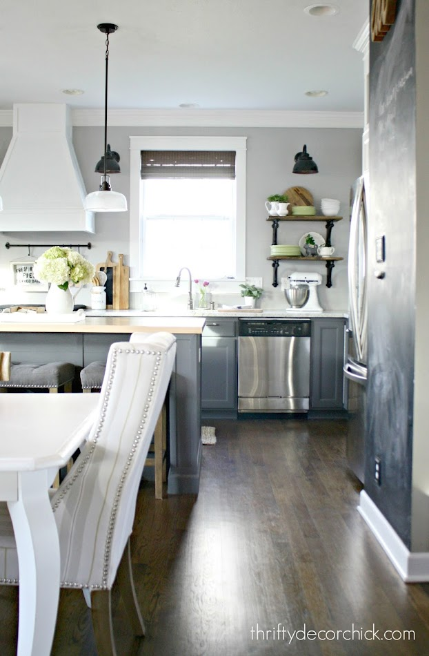 Two toned kitchen gray and white