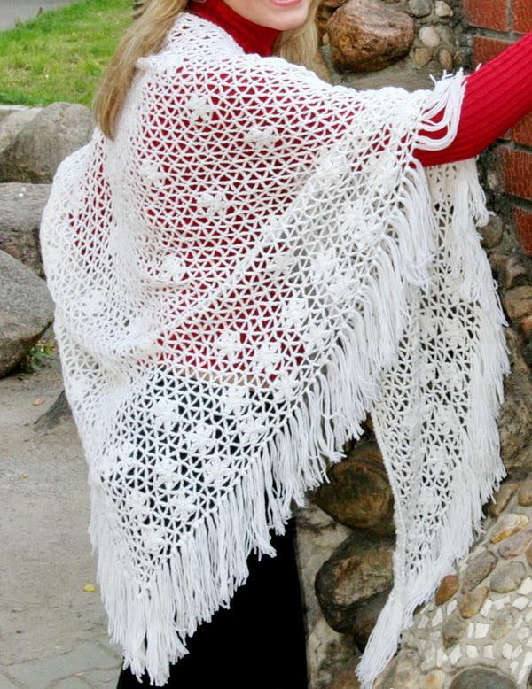Crochet Shawl - Simple Crochet Lace Shawl