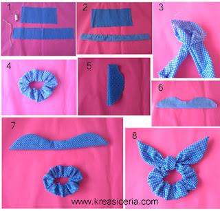 Proses membuat ikat rambut bentuk kuping kelinci dari kain perca