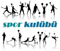 Altında ve üstünde çeşitli sporları yapan sporcu ikonları olan spor kulübü yazısı