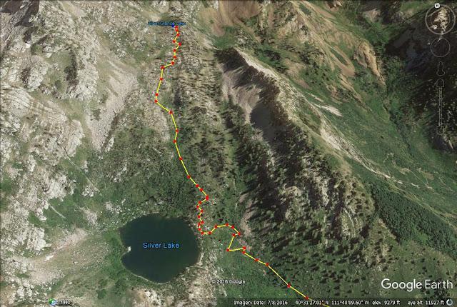 Hiking to Silver Lake & Silver Glance Lake trail map, American Fork Canyon, Utah