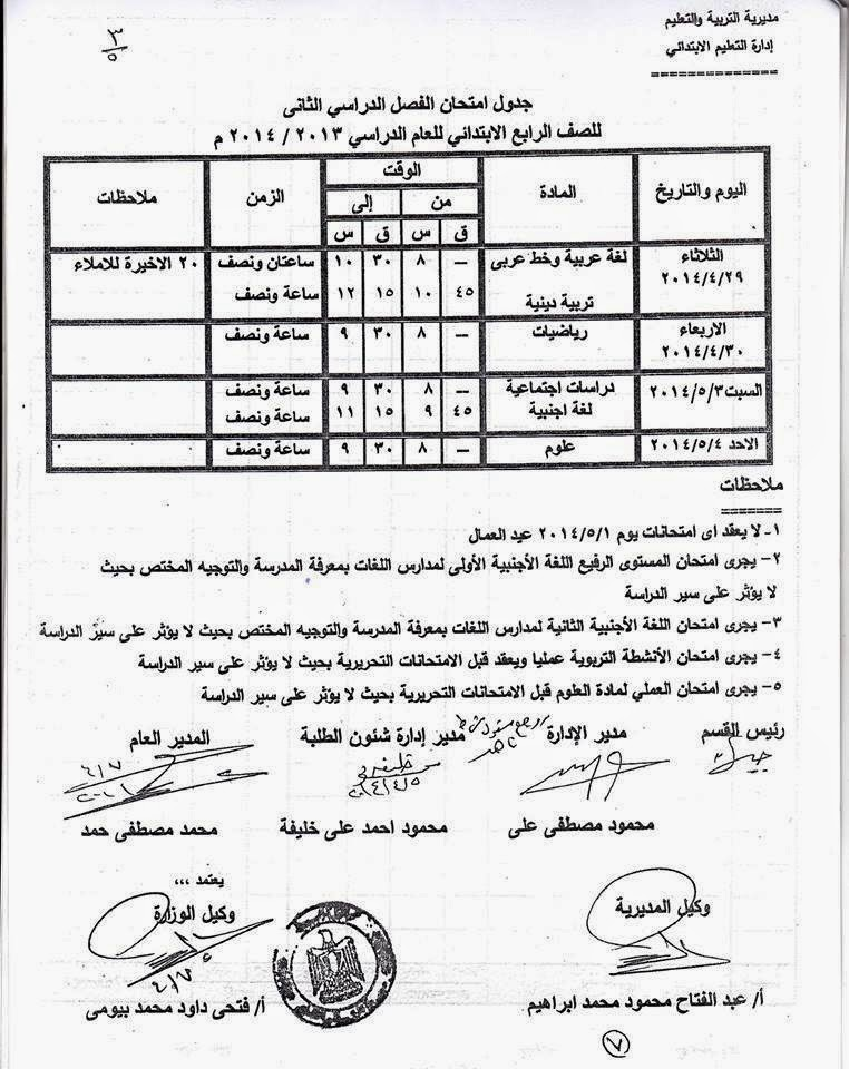 جدوال امتحان الشهادة الابتدائية الترم الثانى 2014 محافظة اسيوط 1546193_649630388419
