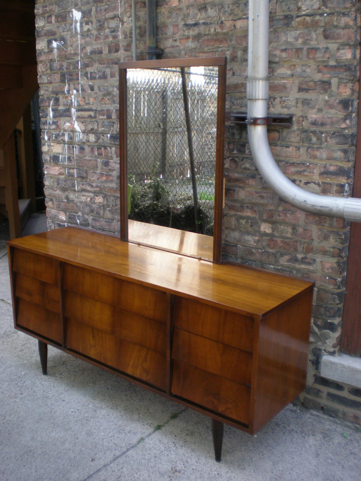 Beautiful Solid Wood 9 Drawer Lowboy With Detachable Mirror Dated 1969 This Dresser Is In Great Condition Top Of Does Have Some Surface Ware