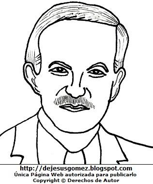 Hafez al-Asad con bigote para colorear pintar imprimir. Dibujo de Hafez al-Asad de Jesus Gómez