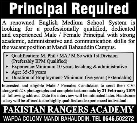 Jobs Vacancies In Pakistan Rangers Academy 02 February 2019