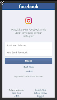 silahkan anda masukkan email dan kata sandi facebook anda untuk melanjutkan, dan kemudian klik masuk