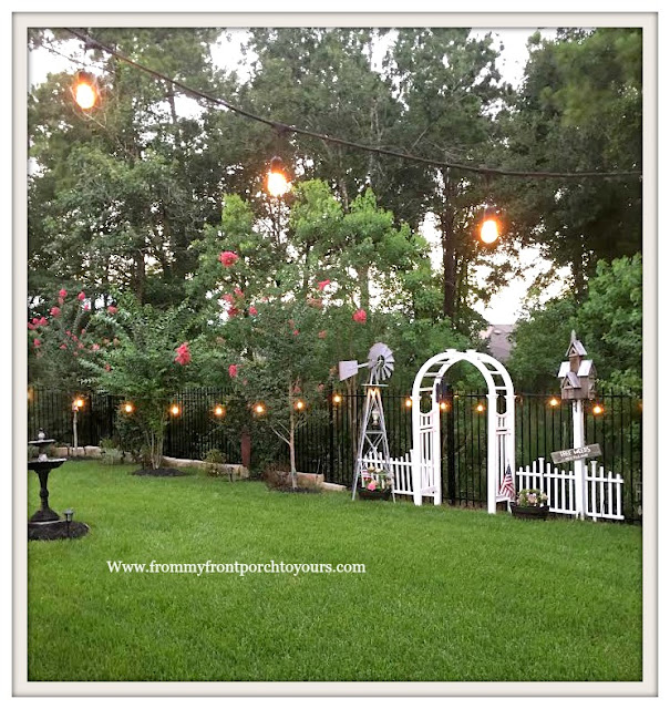 Suburban Farmhouse Backyard- Garden Lights-White Arbor-Crepe Myrtles-From My Front Porch To Yours
