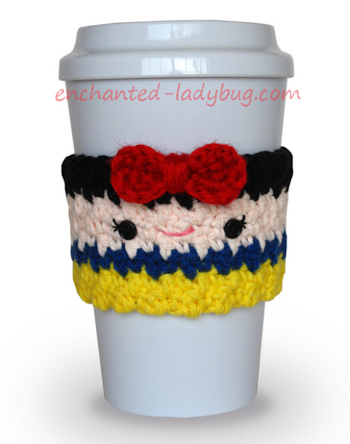 Free Crochet Snow White Coffee Cup Cozy Pattern