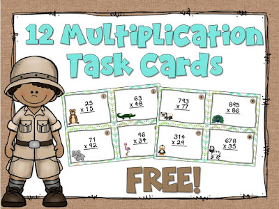 FREE Multiplication Task Cards! (focusing on double digit numbers)
